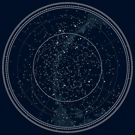 北半球の天文天体地図。詳細なグラフ。深い夜黒インクのバージョンです。