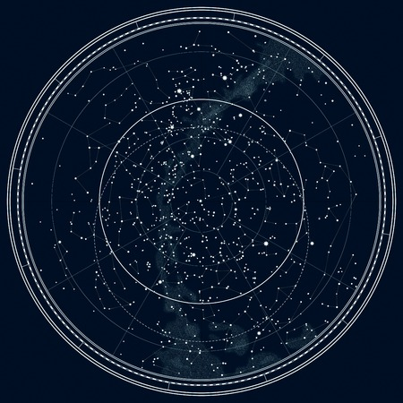 북반구의 천문 천상의지도. 자세한 차트. 깊은 밤 검정 잉크 버전.