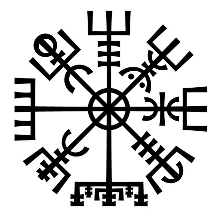 vikingo: Vegvisir. La magia de navegaci�n Br�jula de vikingos. Runescript de la antigua medieval islandesa Manuscrito libro. Talisman por carretera suerte y buen viaje.