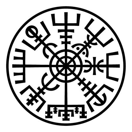 Vegvisir. La magia navegación Compás de vikingos. Runescript de la antigua medieval islandesa Manuscrito libro. Talismán de carretera suerte y buen viaje. (In The Ring) Ilustración de vector
