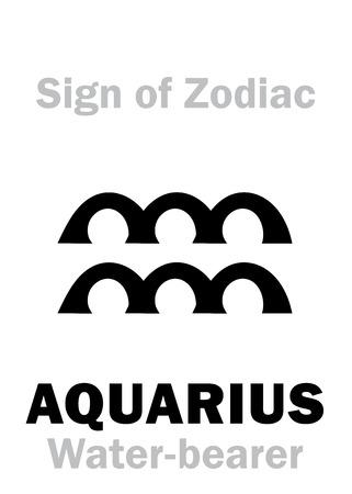 waterbearer: Astrology Alphabet: Sign of Zodiac AQUARIUS (The Water-bearer). Hieroglyphics character sign (single symbol). Illustration