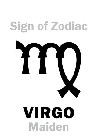 hieroglyphics: Astrology Alphabet: Sign of Zodiac VIRGO (The Maiden). Hieroglyphics character sign (single symbol). Illustration