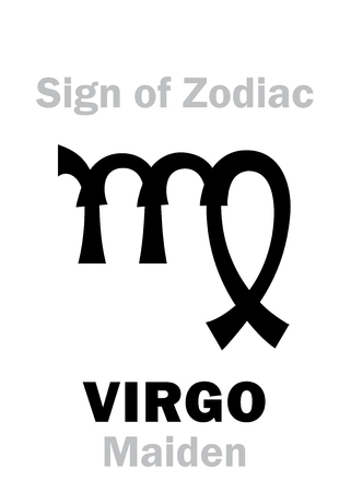 Astrology Alphabet Sign Of Zodiac Virgo The Maiden Hieroglyphics