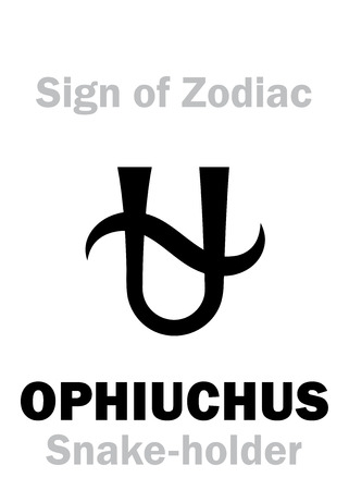 hieroglyphics: Astrology Alphabet: 13th Sign of Zodiac OPHIUCHUS  SERPENTARIUS (The Snake-holder). Hieroglyphics character sign (single symbol).