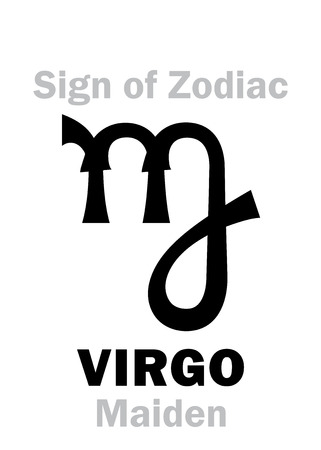 northern: Astrology Alphabet: Sign of Zodiac VIRGO (The Maiden). Hieroglyphics character sign (single symbol). Illustration