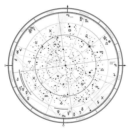 점성학 북반구의 천체지도입니다. 2017 년 1 월 1 일 (00:00 GMT)에 운세. 기호 및 조디악, 행성, 소행성 및 등의 기호 자세한 차트