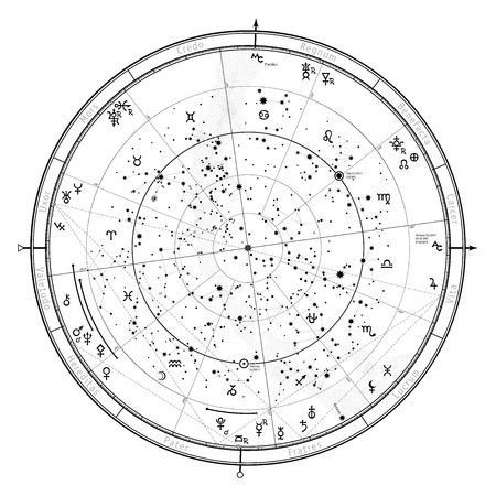 Astrological Celestial map of Northern Hemisphere. Horoscope on January 1, 2017 (00:00 GMT). Detailed chart with symbols and signs of Zodiac, planets, asteroids & etc. Stock Illustratie