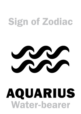 hieroglyphics: Astrology Alphabet: Sign of Zodiac AQUARIUS (The Water-bearer). Hieroglyphics character sign (single symbol). Illustration