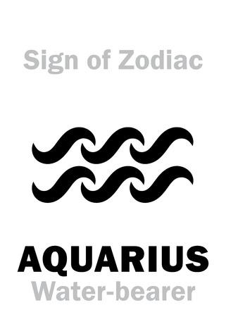 Astrology Alphabet: Sign of Zodiac AQUARIUS (The Water-bearer). Hieroglyphics character sign (single symbol). Illustration