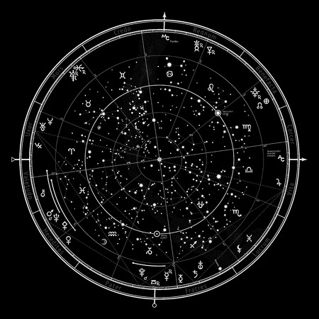 Astrological Celestial map of Northern Hemisphere. Horoscope on January 1, 2017 (00:00 GMT). Detailed chart with symbols and signs of Zodiac, planets, asteroids & etc. Illustration