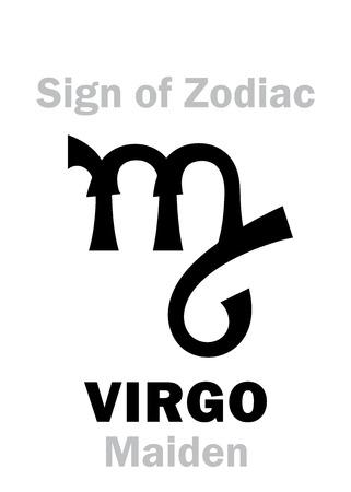 maiden: Astrology Alphabet: Sign of Zodiac VIRGO (The Maiden). Hieroglyphics character sign (single symbol). Illustration