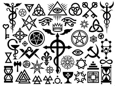 중세 신비로운 징후와 마술 스탬프, Sigils, 자물쇠, 매듭. 신비주의 기호 (Revisited issue : Origin set) 일러스트