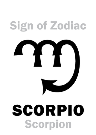 hieroglyphics: Astrology Alphabet: Sign of Zodiac SCORPIO (The Scorpion). Hieroglyphics character sign (single symbol). Illustration
