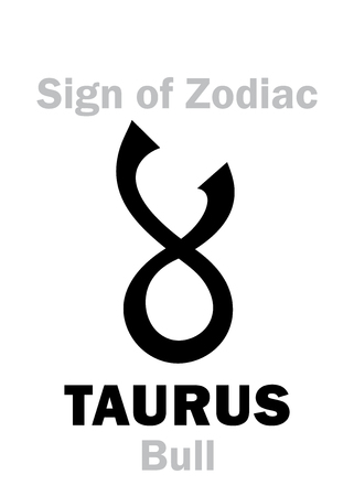 hieroglyphics: Astrology Alphabet: Sign of Zodiac TAURUS (The Bull). Hieroglyphics character sign (single symbol).