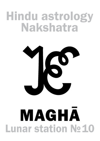 sanskrit: Astrology Alphabet: Hindu nakshatra MAGHA (Lunar station No.10). Hieroglyphics character sign (single symbol).