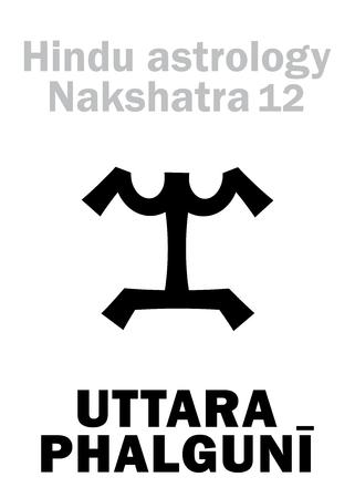 hieroglyphics: Astrology Alphabet: Hindu nakshatra UTTARA PHALGUNI (Lunar station No.12). Hieroglyphics character sign (single symbol). Illustration