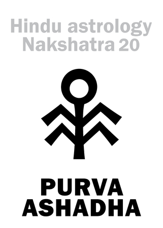 ecliptic: Astrology Alphabet: Hindu nakshatra PURVA ASHADHA (Lunar station No.20). Hieroglyphics character sign (single symbol).