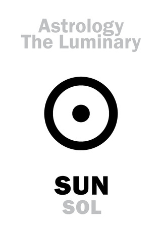 ascendant: Astrology Alphabet: Luminary SUN (SOL). Hieroglyphics character sign (single symbol). Illustration