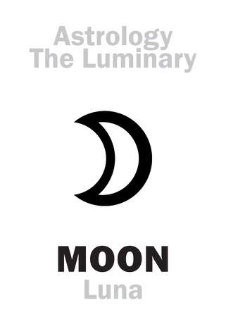 Astrology Alphabet: Luminary MOON (Luna). Hieroglyphics character sign (single symbol).