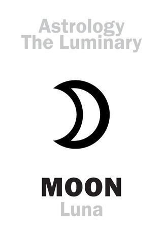 Astrology Alphabet: Luminary MOON (Luna). Hieroglyphics character sign (single symbol).