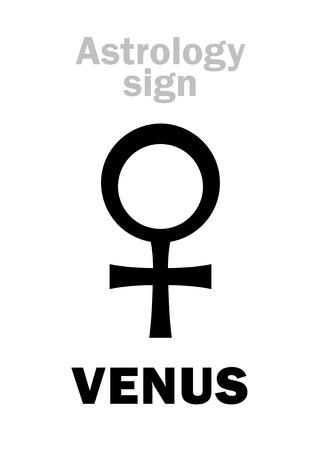 占星術のアルファベット: 金星 (メス)、古典的なマイナーな個人的な惑星。象形文字の文字記号 (単一シンボル)。 写真素材 - 70952448