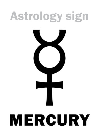 Astrology Alphabet: MERCURY (Hermes), classic minor mental planet. Hieroglyphics character sign (single symbol).