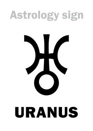 firmament: Astrology Alphabet: URANUS, Transsaturn higher global planet. Hieroglyphics character sign (single symbol). Illustration