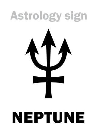 hieroglyphics: Astrology Alphabet: NEPTUNE, Transsaturn higher global planet. Hieroglyphics character sign (single symbol).