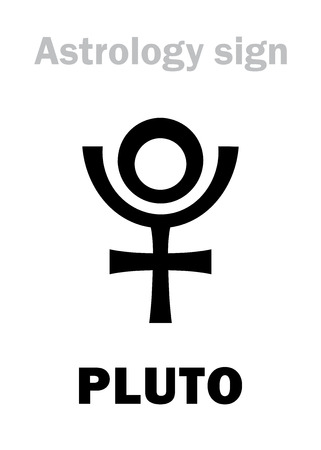 bowels: Astrology Alphabet: PLUTO (Hades), Transneptunian higher global planet (planetoid). Hieroglyphics character sign (single symbol). Illustration