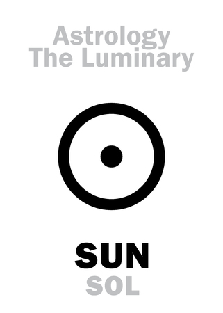 ascendant: Astrology Alphabet: SUN (SOL), The Luminary. Hieroglyphics character sign (single symbol).