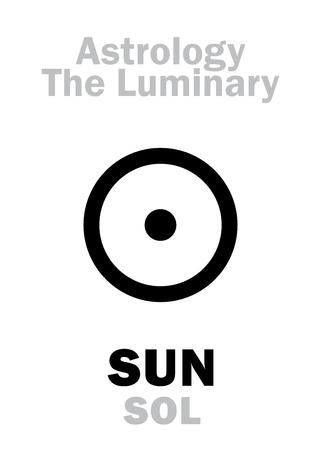 Astrology Alphabet: SUN (SOL), The Luminary. Hieroglyphics character sign (single symbol).