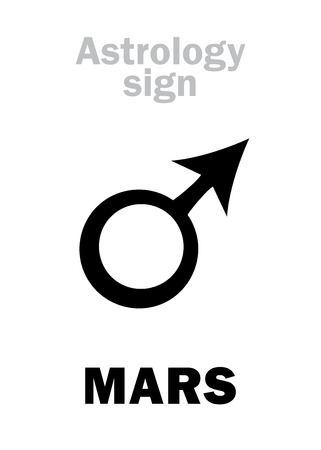 virile: Astrology Alphabet: MARS, classic personal planet. Hieroglyphics character sign (single symbol).