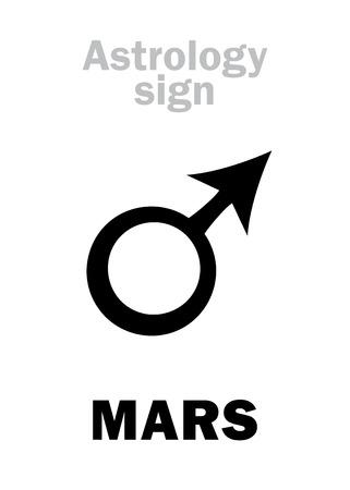 tyr: Astrology Alphabet: MARS, classic personal planet. Hieroglyphics character sign (single symbol).