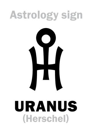 hieroglyphics: Astrology Alphabet: URANUS (Herschel), higher global planet. Hieroglyphics character sign (single symbol).