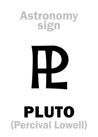 hieroglyphics: Astrology Alphabet: sign of PLUTO (PL), planetoid. Hieroglyphics character sign (astronomical symbol).