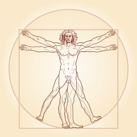 HOMO VITRUVIANO. De zogenaamde Vitruvius-man aka Leonardo's man. Gedetailleerde afbeeldingstekening op basis van kunstwerk meesterwerk door Leonardo da Vinci, uitgevoerd door hem omstreeks 1490 (in 1487 of 1490 of 1492) door het oude manuscript van de Romeinse meester Marcus Vitruvi Stock Illustratie