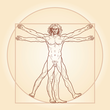 man symbol: HOMO VITRUVIANO. So-called The Vitruvian man a.k.a. Leonardos man. Detailed image drawing on the basis of artwork masterpiece by Leonardo da Vinci, performed by him circa 1490 (in 1487 or 1490 or 1492) by ancient manuscript of Roman master Marcus Vitruvi