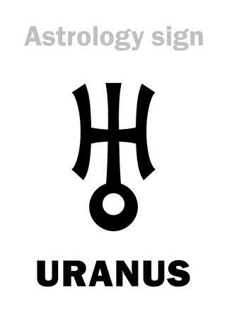 Astrology Alphabet: URANUS (Herschel), higher global planet. Hieroglyphics character sign (single symbol).