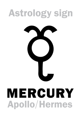 hermetic: Astrology Alphabet: MERCURY (Stilbon), the planetary star (planet). Hieroglyphics character sign (ancient greek symbol).