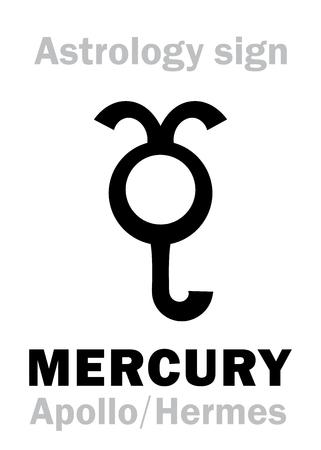 Astrology Alphabet: MERCURY (Stilbon), the planetary star (planet). Hieroglyphics character sign (ancient greek symbol). Stock Vector - 74317920