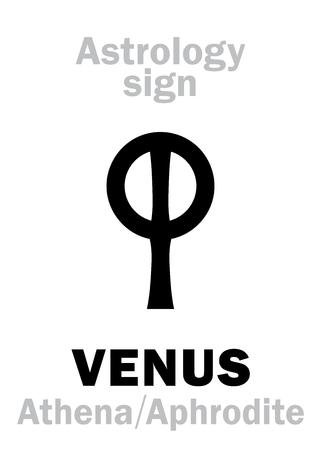 ishtar: Astrology Alphabet: VENUS (Aphrodite), the planetary star (planet). Hieroglyphics character sign (ancient greek symbol). Illustration