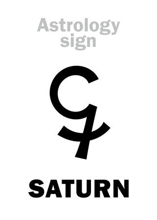Astrology Alphabet: SATURN, classic major planet. Hieroglyphics character sign (single symbol).