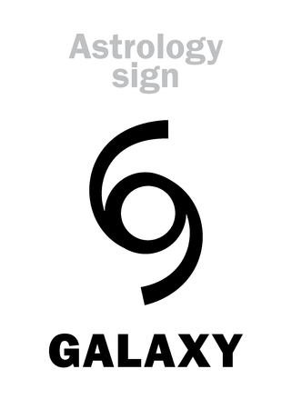 Astrology Alphabet: GALAXY, Universal cosmic system. Hieroglyphics character sign (single symbol).