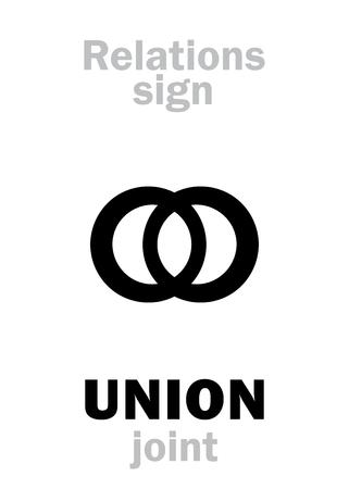 union familiar: Alfabeto de astrología: signo de unión (unirse). Signo de carácter jeroglífico (símbolo de unión).