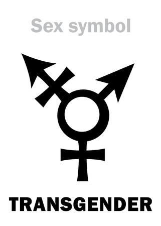 Astrology Alphabet: TRANSGENDER (Intersex). Hieroglyphics character sign (combination of Mars and Venus symbols). Illustration
