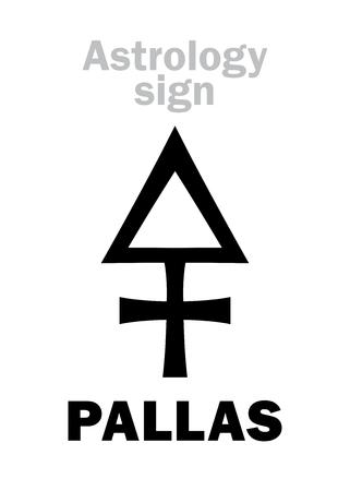 Astrología Alfabeto: PALLAS (Minerva), asteroide clásico. Jeroglífico signo de carácter (símbolo único).