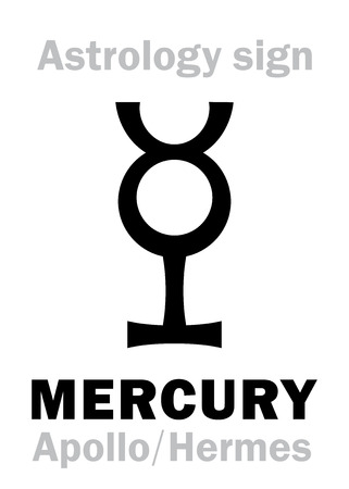 Astrology Alphabet: MERCURY (Apollo-Hermes), the planetary star (planet-homodrome). Hieroglyphics character sign (ancient greek symbol).