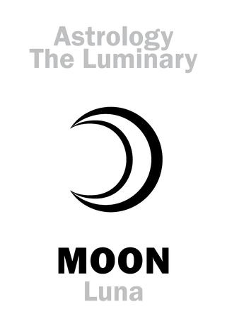 vedic: Astrology Alphabet: MOON (Luna), The Luminary. Hieroglyphics character sign (single symbol).