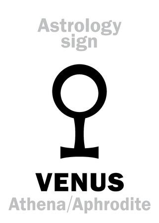 ishtar: Astrology Alphabet: VENUS (Athena-Aphrodite), the planetary star (planet-homodrome). Hieroglyphics character sign (ancient greek symbol).