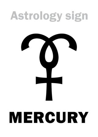 fortunetelling: Astrology Alphabet: MERCURY, minor planet. Hieroglyphics character sign (medieval symbol).